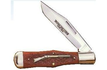 Winchester Knives 5 1/4in, 1 Blade Swell Hunting Pattern w /Burnt Orange Bone Handle, Rifle Shield W 15 19106 1/2