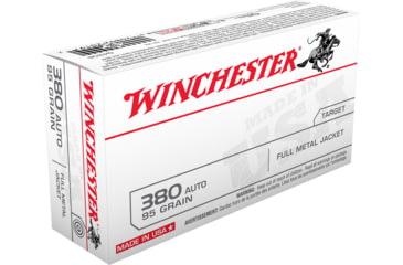 Winchester USA HANDGUN .380 ACP 95 grain Full Metal Jacket Brass Cased Centerfire Pistol Ammunition — 3 models