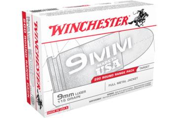 Winchester USA HANDGUN 9mm Luger 115 grain Full Metal Jacket Centerfire Pistol Ammunition - 200 Rounds