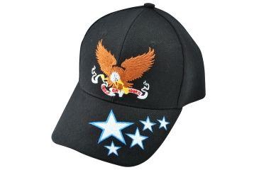 Zan Headgear 3-D Embroidered Black Cap Banner Eagle CPA137