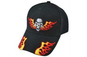 Zan Headgear 3-D Embroidered Black Cap Helmet Skull CPA139
