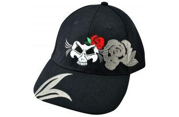 Zan Headgear 3-D Embroidered Black Cap Lady Skull CPA135