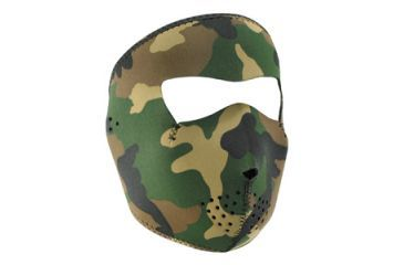 Zan Headgear Full Mask, Neoprene, Woodland Camo, Tactical, 4.0mm Thick WNFMT118