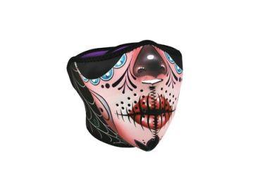 Zan Headgear Half Mask, Neoprene, Sugar Skull Reversible to Purple WNFM082H