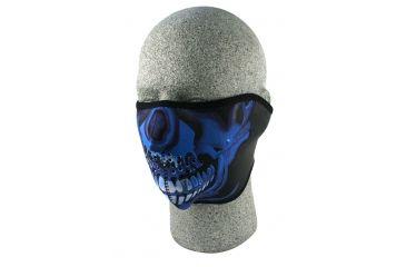 Zan Headgear Neoprene Half Face Mask Blue Chrome Skull WNFM024H