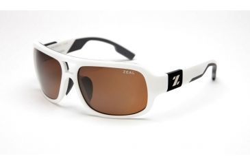 Zeal Optics Brody Mens Sunglasses, White Gloss Frame and Polarized Copper Lens 10008
