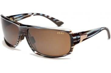 Zeal Optics Epic Sunglasses, Aqua Blue Wood Grain Frame and Polarized Copper Lens 10072