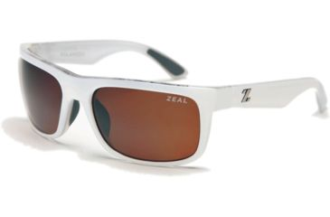 Zeal Optics Essential Mens Sunglasses, White Gloss Frame and Polarized Copper Lens 10002