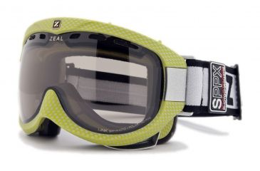 Zeal Optics Link Classic Ski Goggles, Carbon Matte Green Frame and Polarized Automatic Optimum Lens LK4SPPG