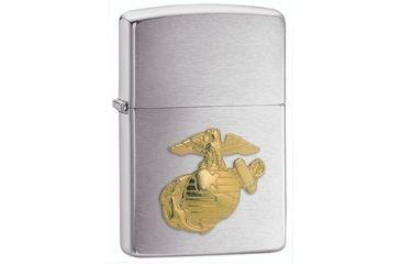 Zippo Marines Gold Emblem Classic Style Lighter, Brushed Chrome 280MAR