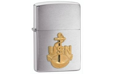 Zippo Navy Anchor Classic Style Lighter, Brushed Chrome 280ANC