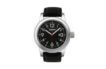 Zippo Casual Classic Style Watch, Black Dial & Black Leather Strap 45003