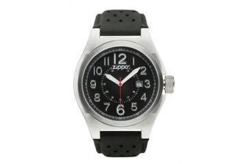 Zippo Casual Brushed Chrome Style Watch, Black Dial & Black Leather Strap 45010