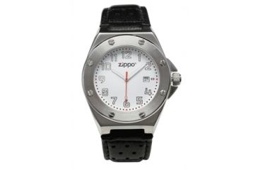 Zippo Casual Bolt Style Stainless Steel Watch, White Dial & Black Leather Strap 45008