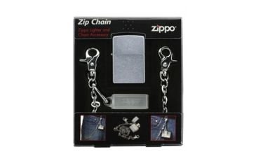 Zippo Zip Chain Classic Lighter & Chain Accessory Combo, Street Chrome 24414