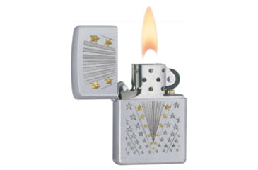 Zippo Flag Classic Lighter Lighter, Satin Chrome 28277