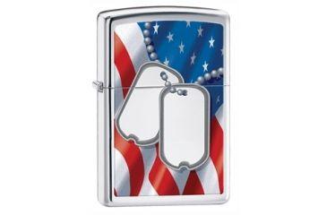 Zippo Flag And Dog Tags Classic Style Lighter, High Polish Chrome 28291
