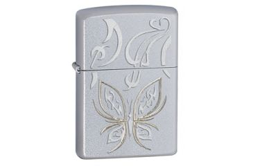 Zippo Golden Butterfly Classic Lighter, Satin Chrome 24339