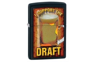 Zippo I Support The Draft Classic Style Lighter, Black Matte 28294