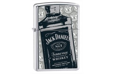 Zippo Jack Daniels High Polish Chrome Classic Style Lighter & Pouch Gift Set 24707