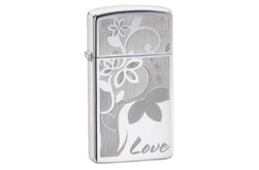 Zippo Love Flower Classic Style Slim Lighter, High Polish Chrome 24816