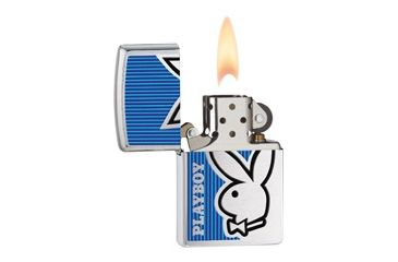 Zippo Playboy Bunny Blue Classic Lighter, Brushed Chrome 28261