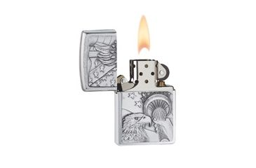 Zippo Something Patriotic Classic Lighter, Brushed Chrome 20895