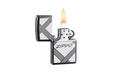 Zippo Unparalled Tradition Classic Style Lighter w/ Zippo Logo, Black Ice 20969