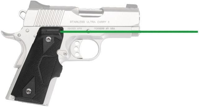 Crimson Trace Lasergrip for 1911 Officer's/Defender/Compact, Green laser, Black, LG-404G