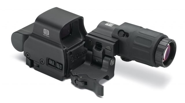 Eotech Holographic Weapon Sight, EXPS2-2 HWS 65 MOA Ring with 2 Dots, G33 Magnifier and Switch to Side Mount with Quick Detach