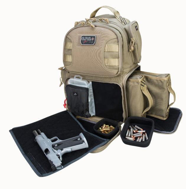 G*Outdoors GPS-T1610BPT Tactical Range Backpack Tan 1000D Nylon 2 Handguns