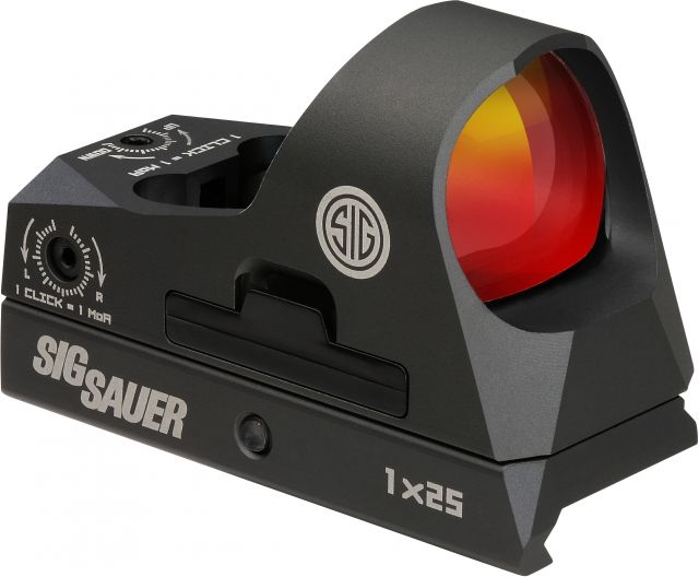 Sig Sauer Romeo3 Miniature 1x25mm Reflex Sight w/ Riser, 3 MOA Red Dot Reticle, Graphite SOR31002
