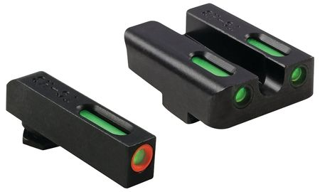 TruGlo Brite-Site TFX Pro Sight Set For Glock 17/17L/19/22/23/24/26/27/33/34/35/38/39, Green Rear, Green With Orange Focus Lock Front Sight, TG13GL1PC