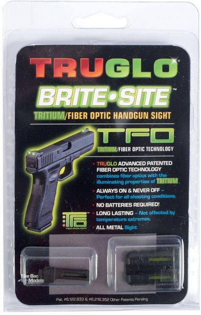 TruGlo Tritium/Fiber Optic Night Sight Set, Green Front/Rear - For Glock 20/21 and Similar TG131GT2