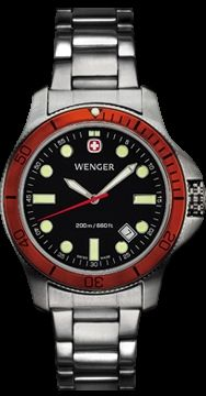 Wenger BT3Diver Watch - Mens Black Dial/Orange Bezel - Bracelet