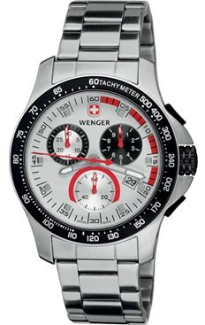 Wenger Mens Battalion Field Chrono Watch - Silver Dial Stainless Steel
