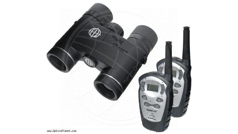 Tasco World Class 10x25 Waterproof Binoculars WC1025 + Two FRS 2-Way Radios