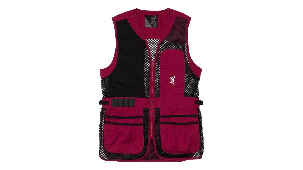 Browning Bg Mesh Shooting Vest R-hand Women's Medium Black/cassis