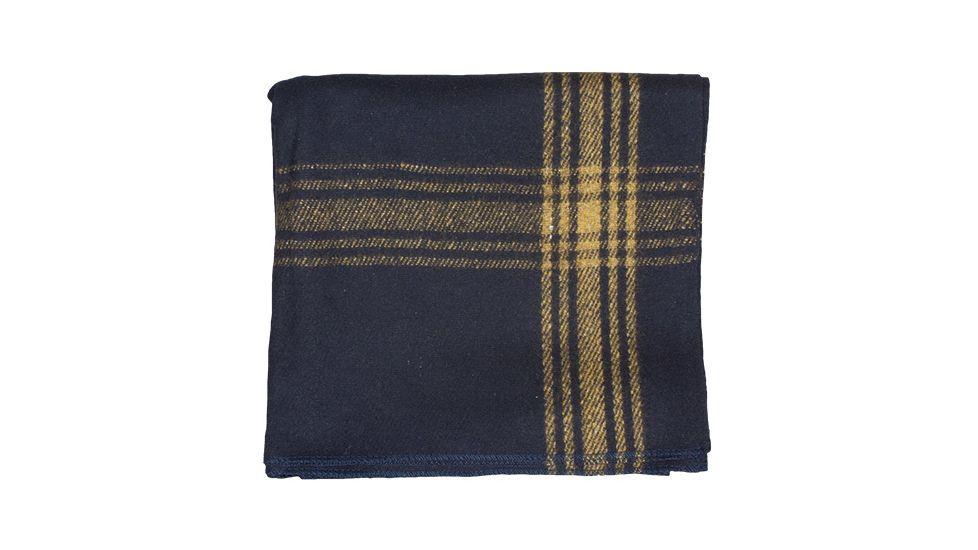 Fox Outdoor Mustard-Striped Navy Wool Blanket