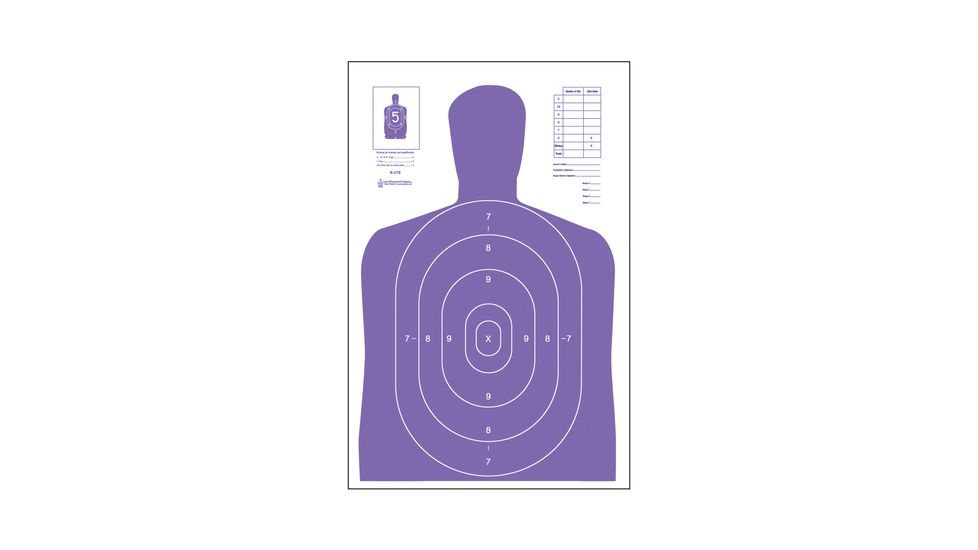 Law Enforcement Targets High Visibility Fluorescent B-27E Indoor Target Purple 23x35 Inch 100 Per Case B-27E-PR