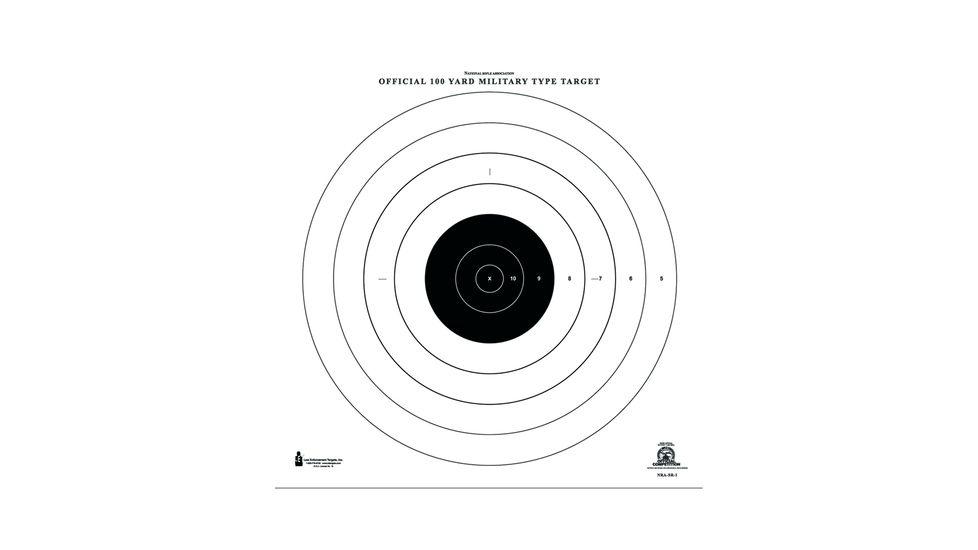 Law Enforcement Targets NRA-SR-1 100 Yard Rapid Fire Military Target 21x21 Inch Black/White 100 Per Case