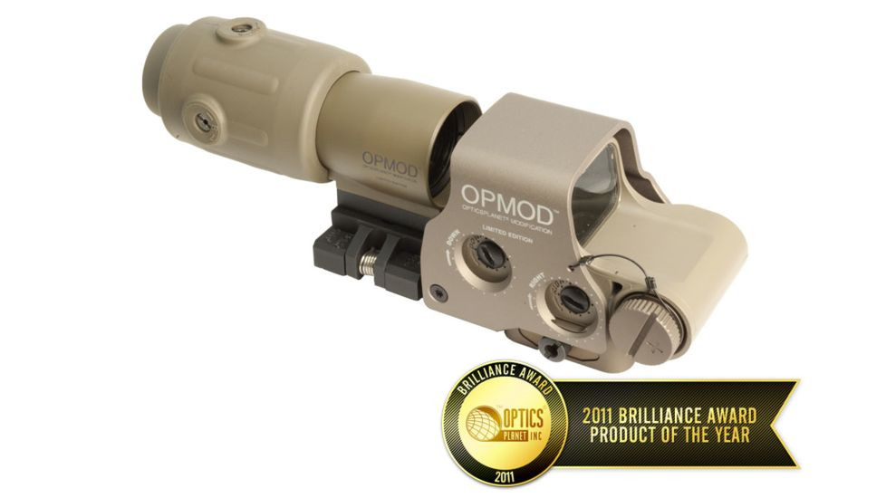 EOTech OPMOD MPO II EXPS3-0 Holosight with G23 3X Magnifier - 65 MOA ring and 1 MOA Dot Reticle, Tan