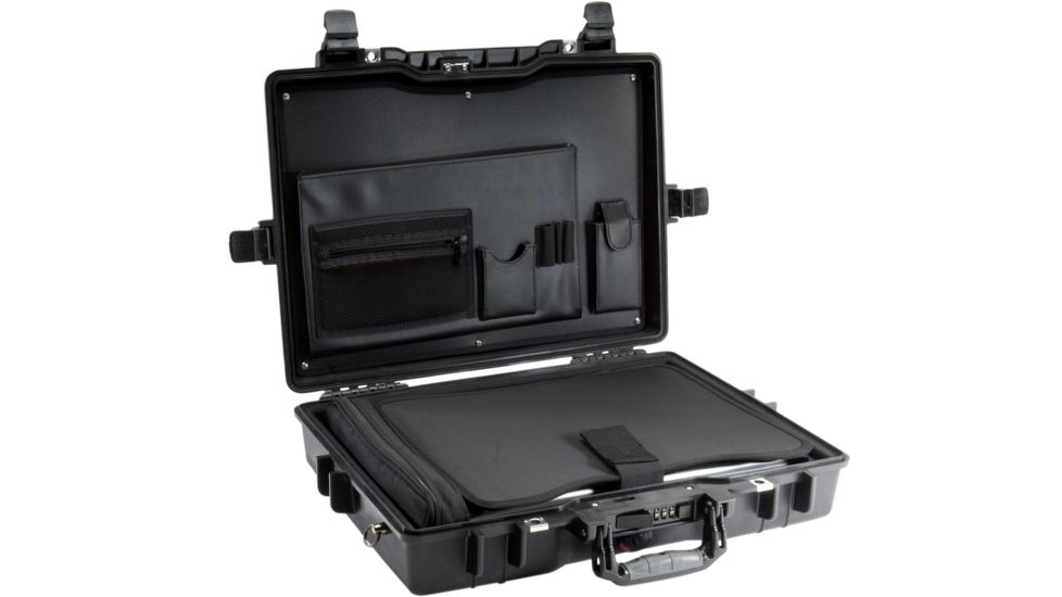 Pelican 1495 CC1 Laptop Computer Deluxe Carrying Black Case w/ Lid Organizer, Fitted Shock Absorbing Tray and Removable Shoulder Strap