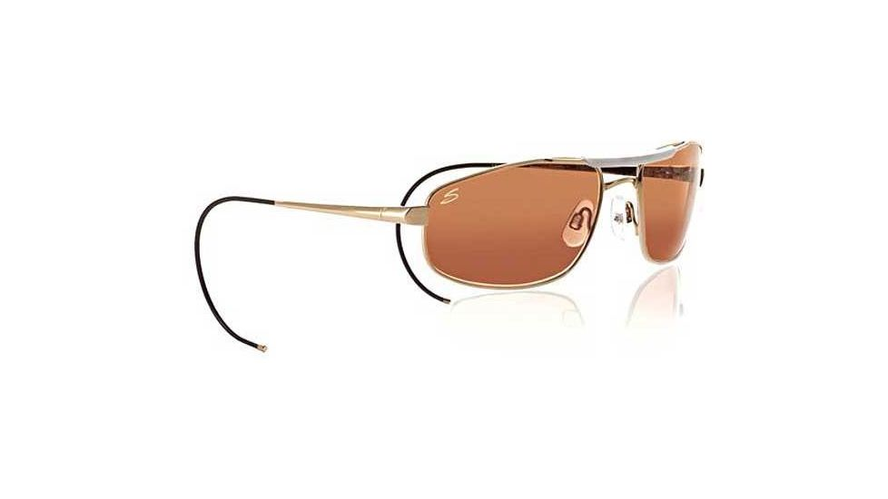 Serengeti Pilot 1 Aviator Sunglasses 7161 - Gold/Bone Frame, Drivers Lenses