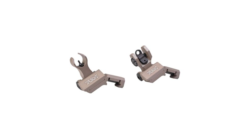 Troy 45 Degree Offset Folding BattleSights For HK Front And Round Rear Flat Dark Earth SSIG-45S-HRFT00