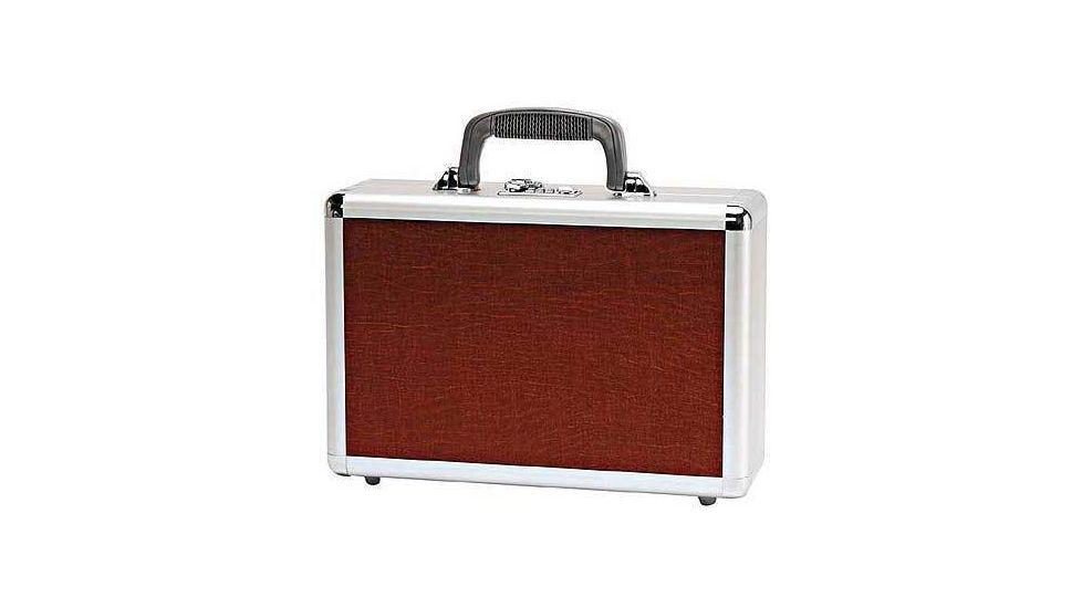 T Z Case Optima Classic Wide Aluminum 15'' Pistol Case - Brown Leatherette Pattern TOP0015BRN