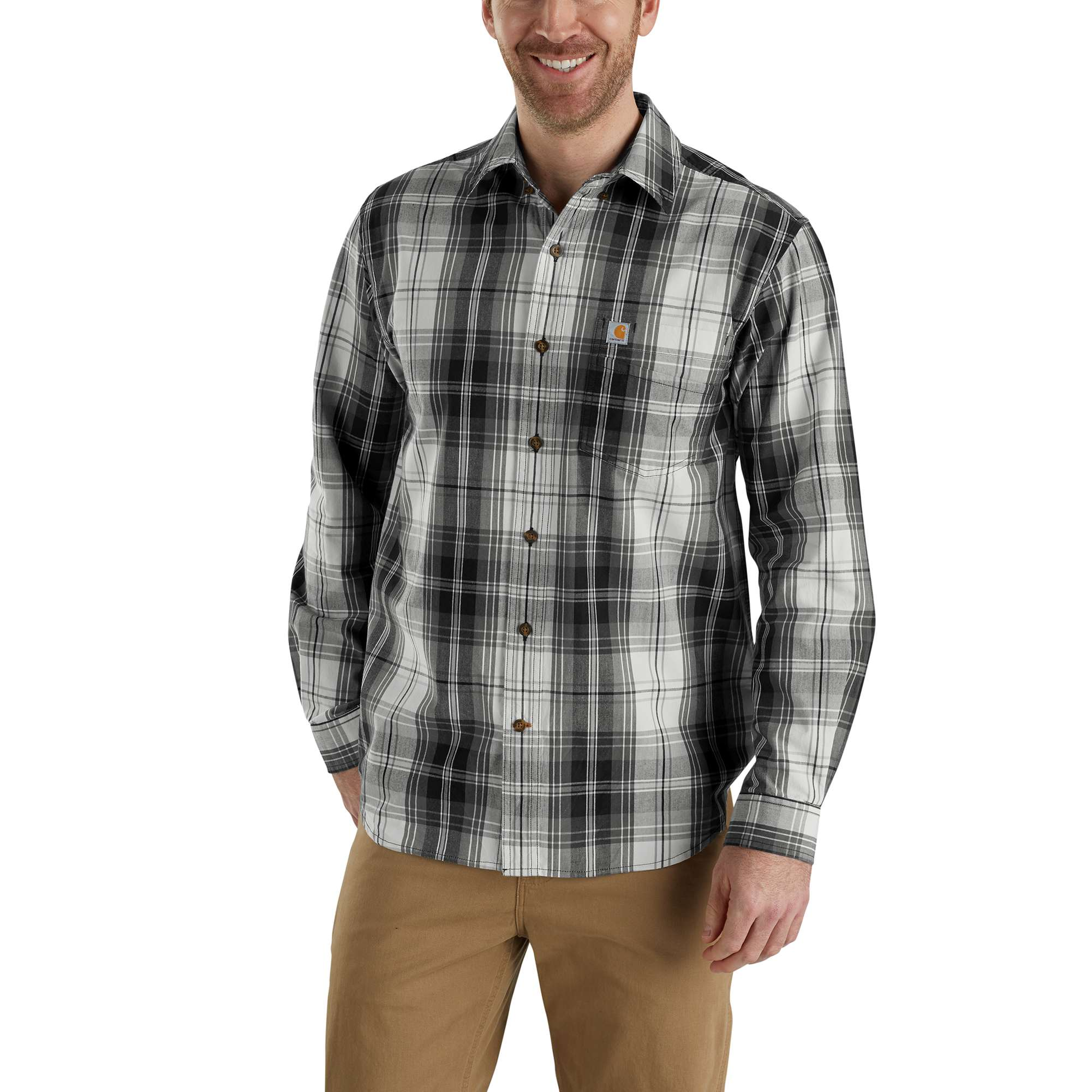 good super specials to buy Carhartt Essential Plaid Button Down Long Sleeve Shirt-Men's