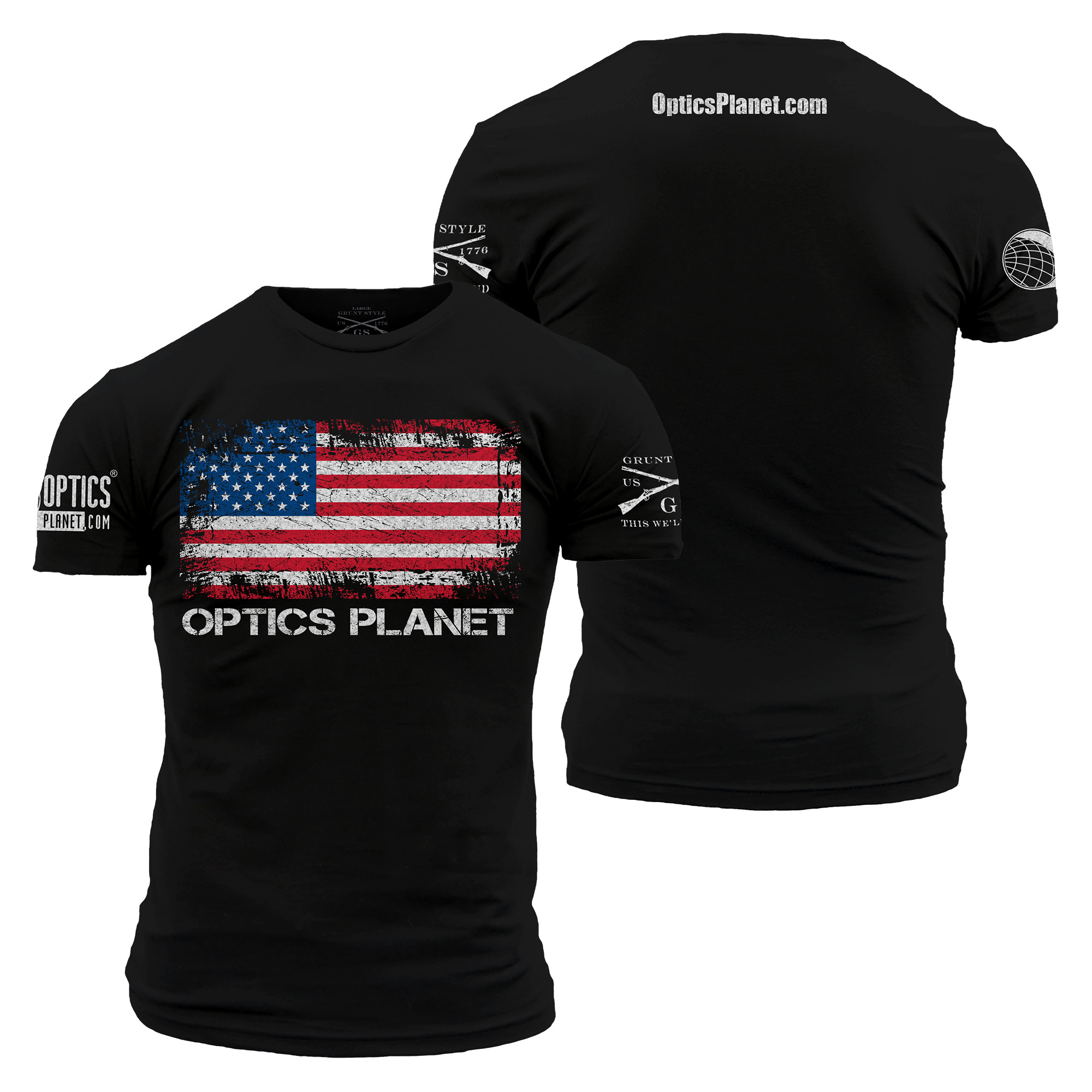 Opticsplanet Men S Exclusive Grunt Style American Flag T Shirt Up