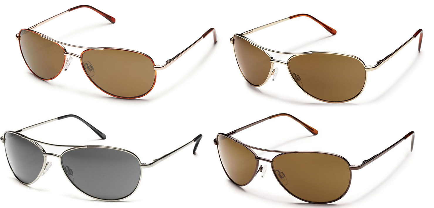Suncloud Patrol Aviator Sunglasses Gold Frame Plr Brown Polarized Lens NWT