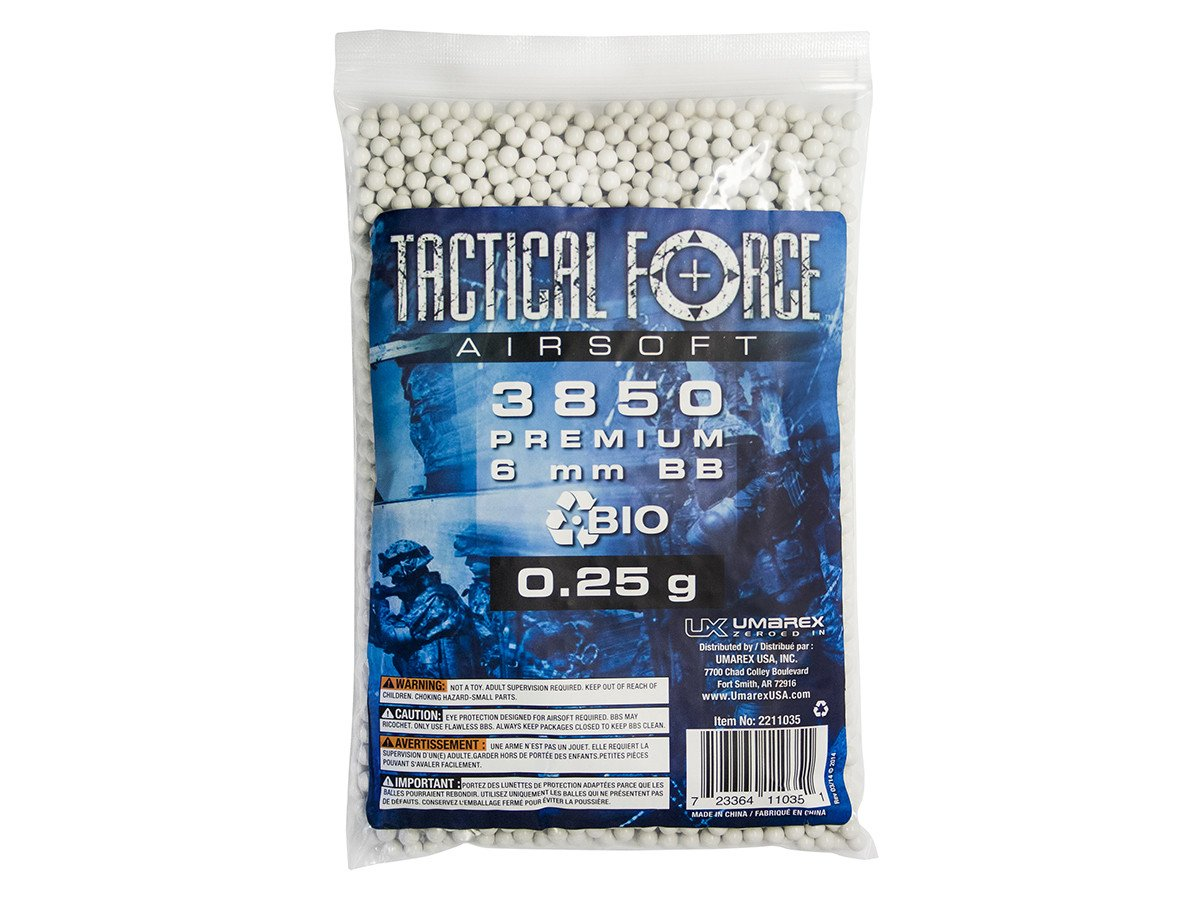 Umarex Tactical Force  25g Premium 6mm Biodegradable Airsoft BBs, 3850 Count